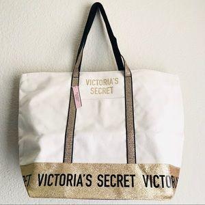 Victoria's Secret canvas gold tote